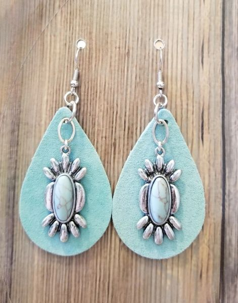 Faux Turquoise & Silver Dangles on Leather Boho Southwestern Earrings
