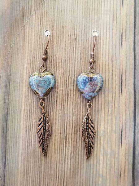 Czech Glass Blue & Brown Hearts & Gold Leaves Boho Earrings