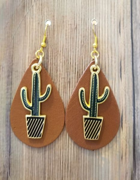 Boho Cactus Charms on Leather Southwestern Earrings