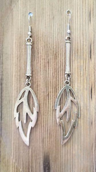 Boho Rustic Silver Leaf Dangle Earrings
