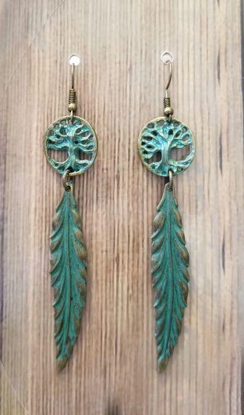 Green Patina Tree & Leaf Boho Earrings
