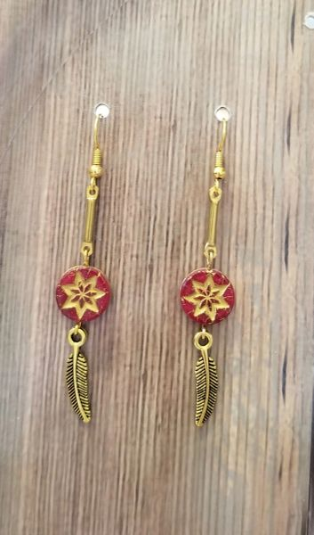 Delicate Red & Gold Czech Glass Stars with Leaves Boho Earrings