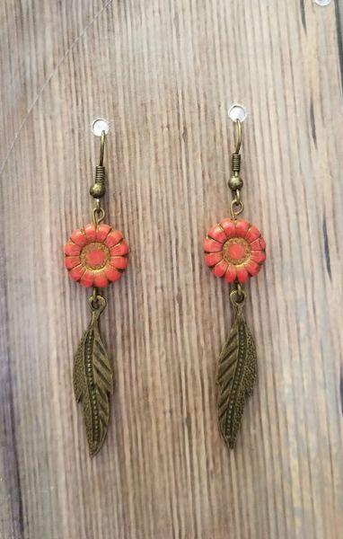 Peach & Gold Czech Glass Flowers with Leaves Boho Earrings