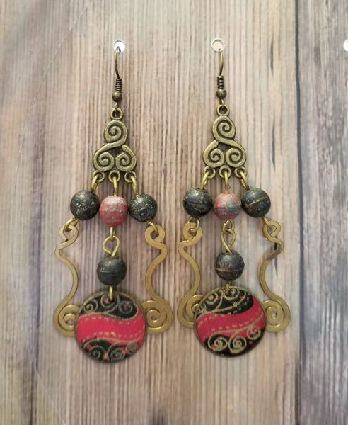 Red, Black & Gold Salvaged Dangles Boho Tribal Earrings