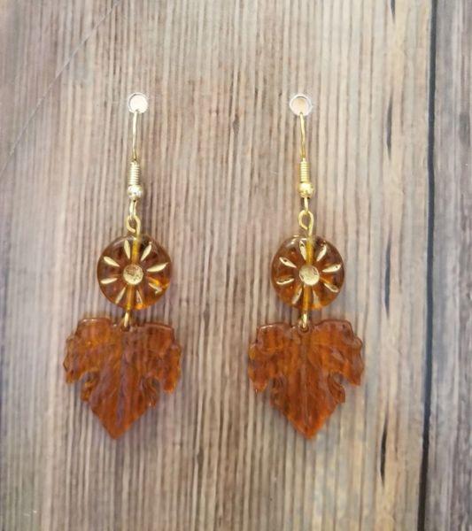 Delicate Topaz Czech Glass Flower Beads With Leaves Boho Earrings