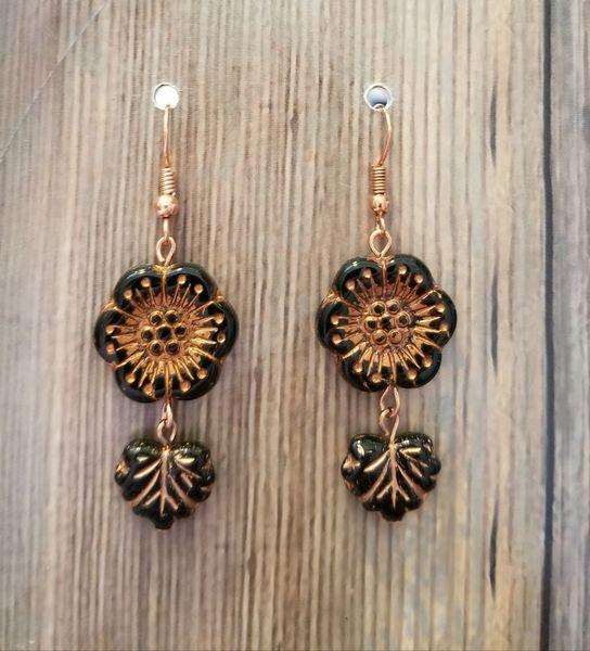 Black & Copper Czech Glass Flower & Leaf Boho Earrings