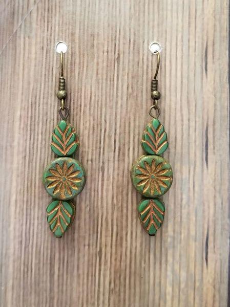 Green & Gold Czech Glass Leaf & Flower Boho Earrings