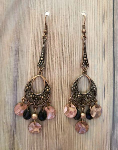 Copper & Black Boho Chandelier Earrings