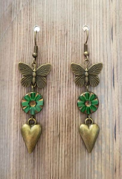Bronze Butterfly & Heart with Green Czech Glass Flower Boho Earrings