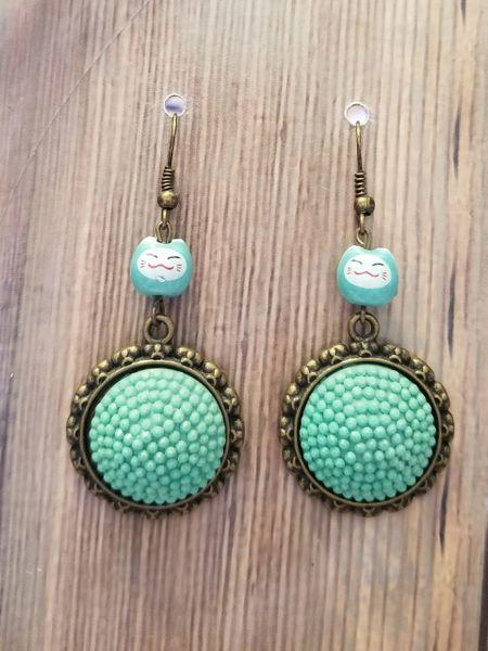 Minty Green Asian Kitties Dangle Earrings