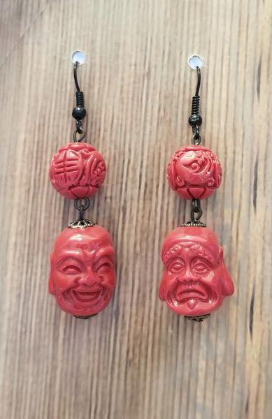 Faux Cinnabar Asian Face Earrings