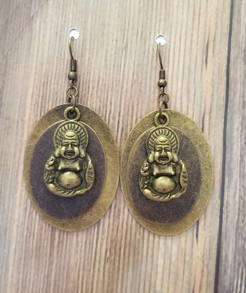 Mixed Metal Layered Buddha Earrings