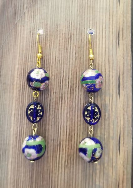 Cobalt Blue Asian Floral Bead with Czech Glass Accents