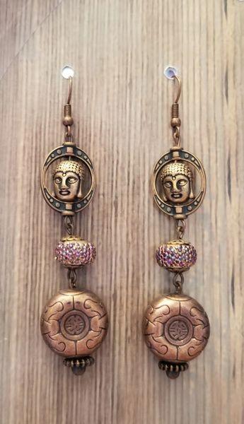 Copper Colored Asian Buddha Dangles