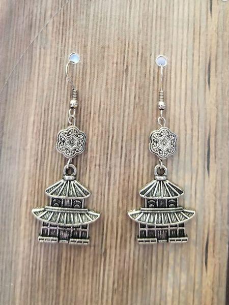 Silver Tone Asian Pagoda Dangle Earrings