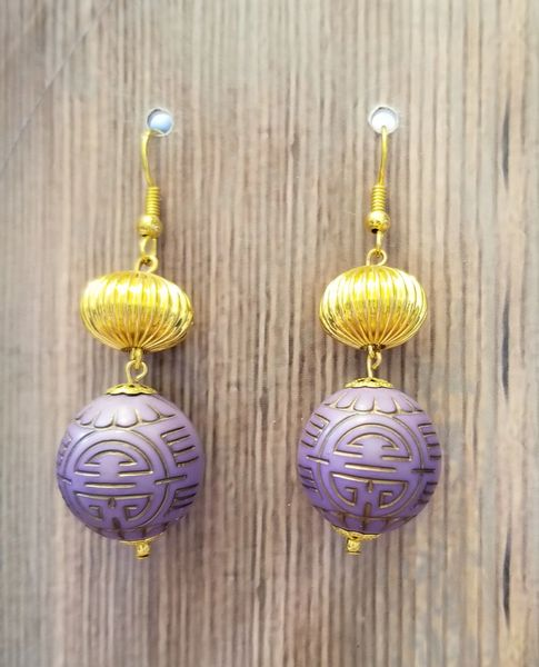 Purple Asian Beads with Gold Accents