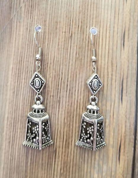 SilverTone Lantern Charm Earrings