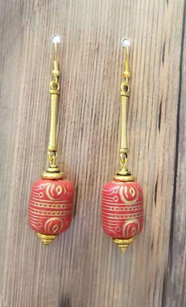 Red & Gold Asian Acrylic Dangle Earrings