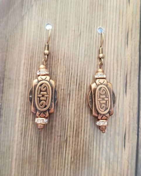 Copper Tone Asian Knot Earrings