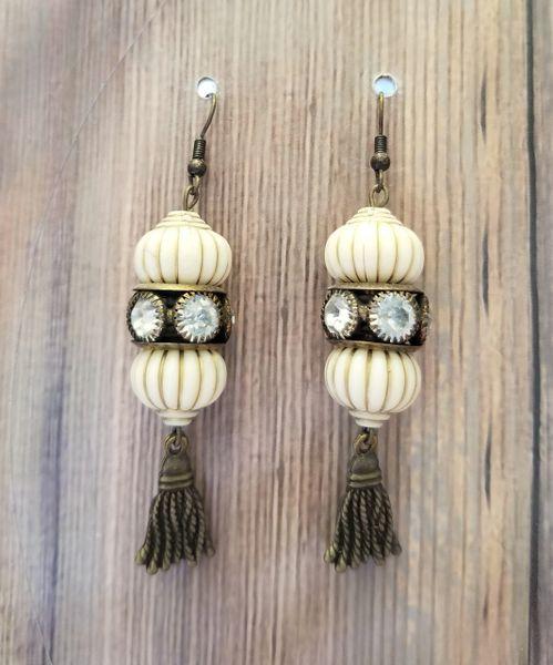 White & Golden Asian Earrings with Tassels & Rhinestones