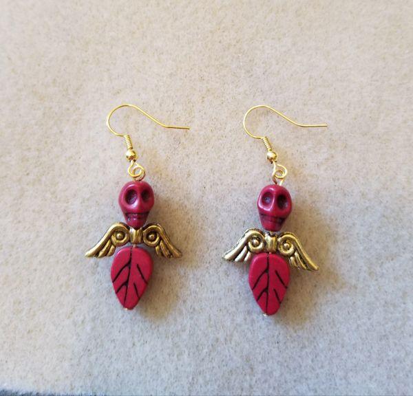 Cute Red Skull Angel Earrings