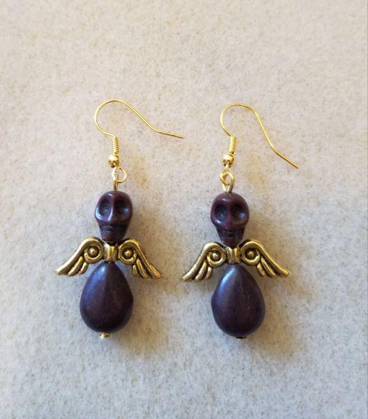 Small Blue & Gold Skull Angel Earrings