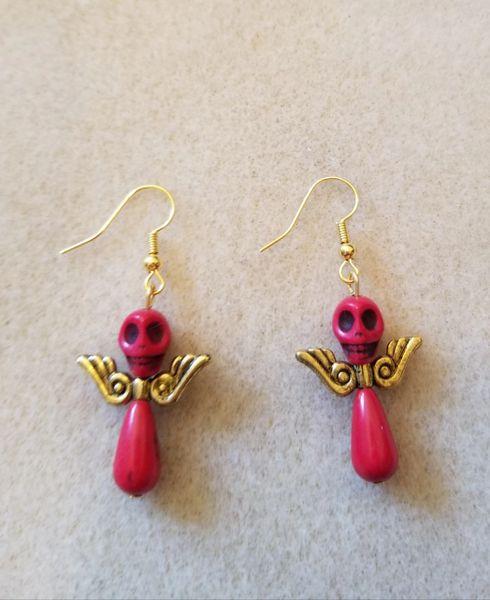 Dark Pink Skull Angel Earrings