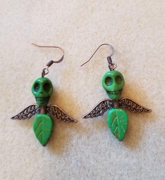Green Skull Angel Earrings