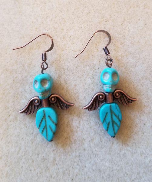Blue & Copper Skull Head Angel Earrings