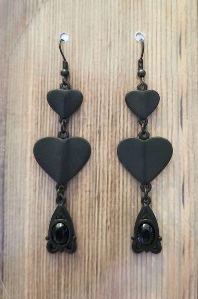 Matte Black Heart Earrings with Victorian Dangle