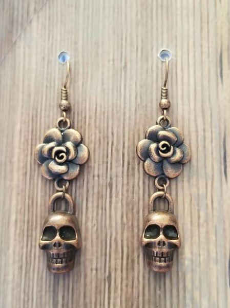 Copper Skulls & Flowers Earrings