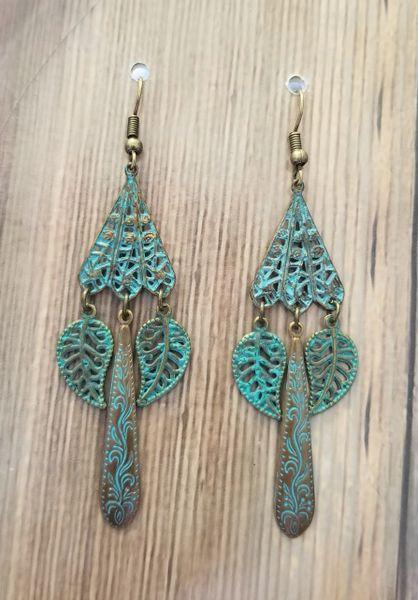 Green Patina Filigree Dangle Earrings