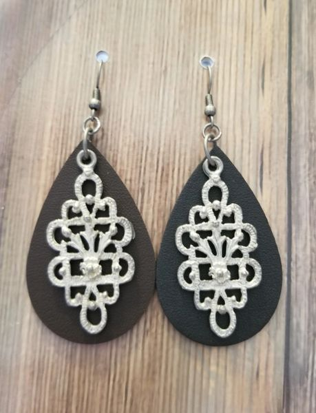 Brown Faux Leather Teardrops with Salvaged Silver Filigree Charms