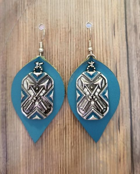 Bright Blue Faux Leather Teardrops with Silver & Blue Charms