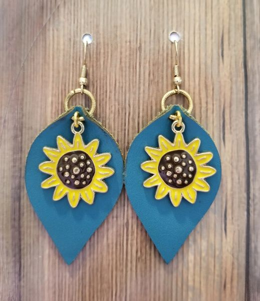 Bright Blue Faux Leather Drops with Sunflower Charms
