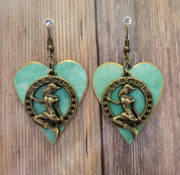 Gold Cowgirl Charms on Salvaged Green Patina Hearts