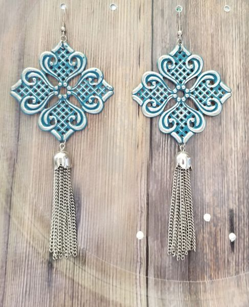 Big Silver Filigree Earrings with Blue-Green Patina & Tassels