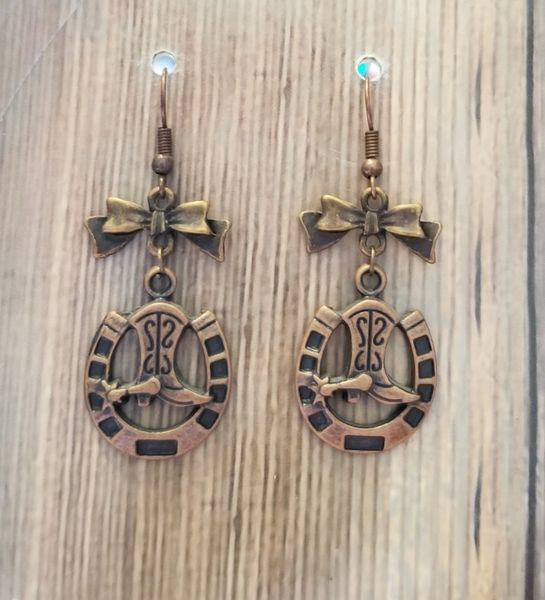 Copper Cowboy Boot Charms with Matching Bows