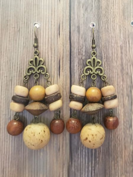 Boho Natural Tone Salvaged Wood Bead Earrings