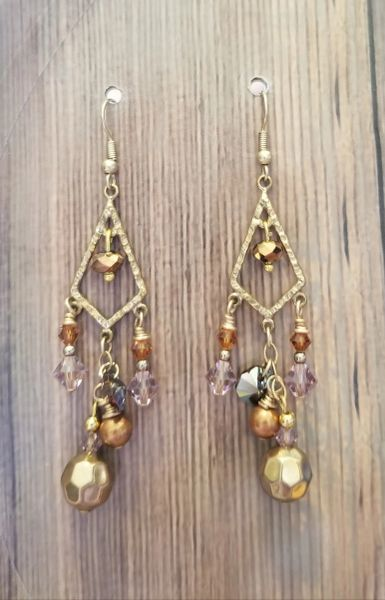 Sparkly Gold & Brown Salvaged Dangle Earrings