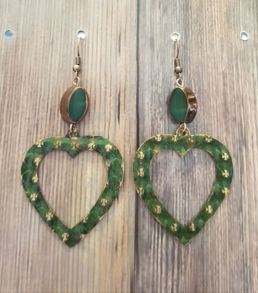 Salvaged Gold Tone Hearts With Green Patina