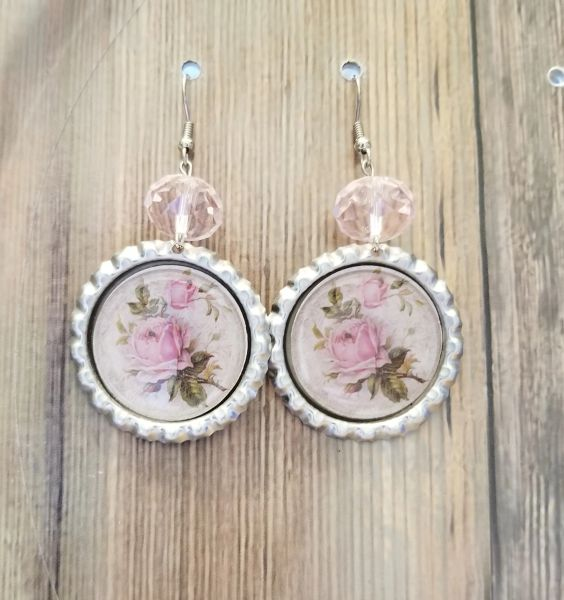 Pink Roses in Silver Bezel