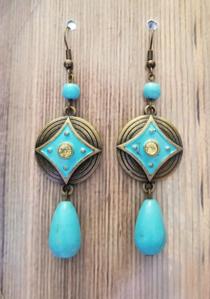 Gold Charms with Turquoise Blue Patina & Matching Dangle