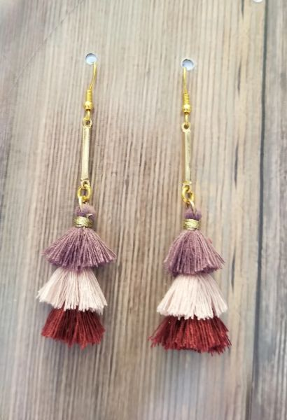 Long Dangle Earrings with Earth Tone Thread Tassels
