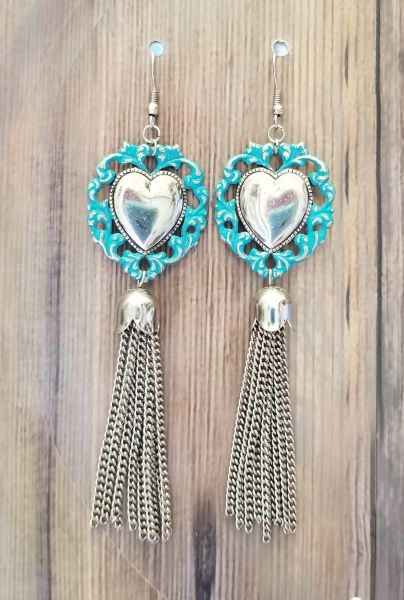 Silver Hearts With Turquoise Patina & Silver Tassels