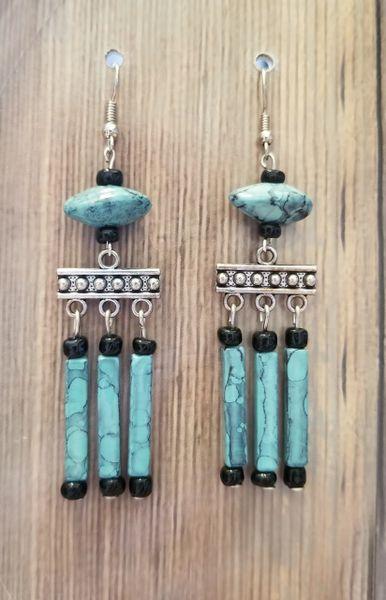 Blue & Black Dangle Earrings with Silver Chandeliers
