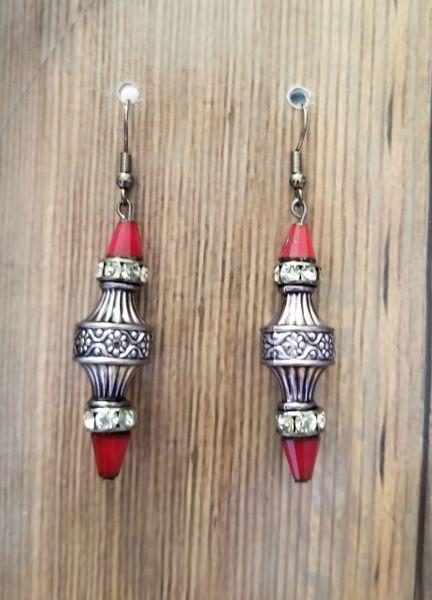 Fancy Gun Metal Tone Earrings with Rhinestones & Red Crystal Accents