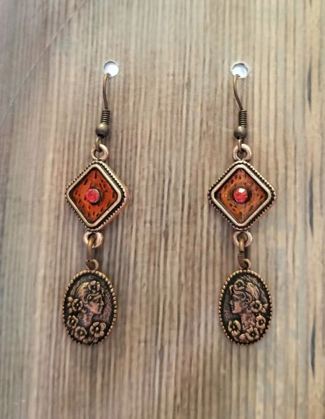 Copper Cameo Charms with Red Enamel Connectors