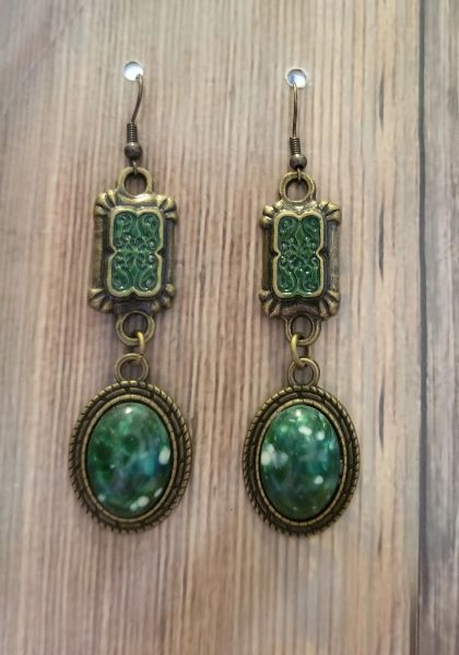 Green Victorian Style Earrings with Hand Painted Connectors