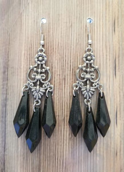 Fancy Silver Chandeliers with Black Faceted Acrylic Teardrops